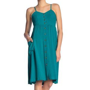 New Good Luck Gem Teal Button Front Midi Dress